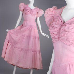 M Vintage 30s 40s Cocktail Party Long Dress